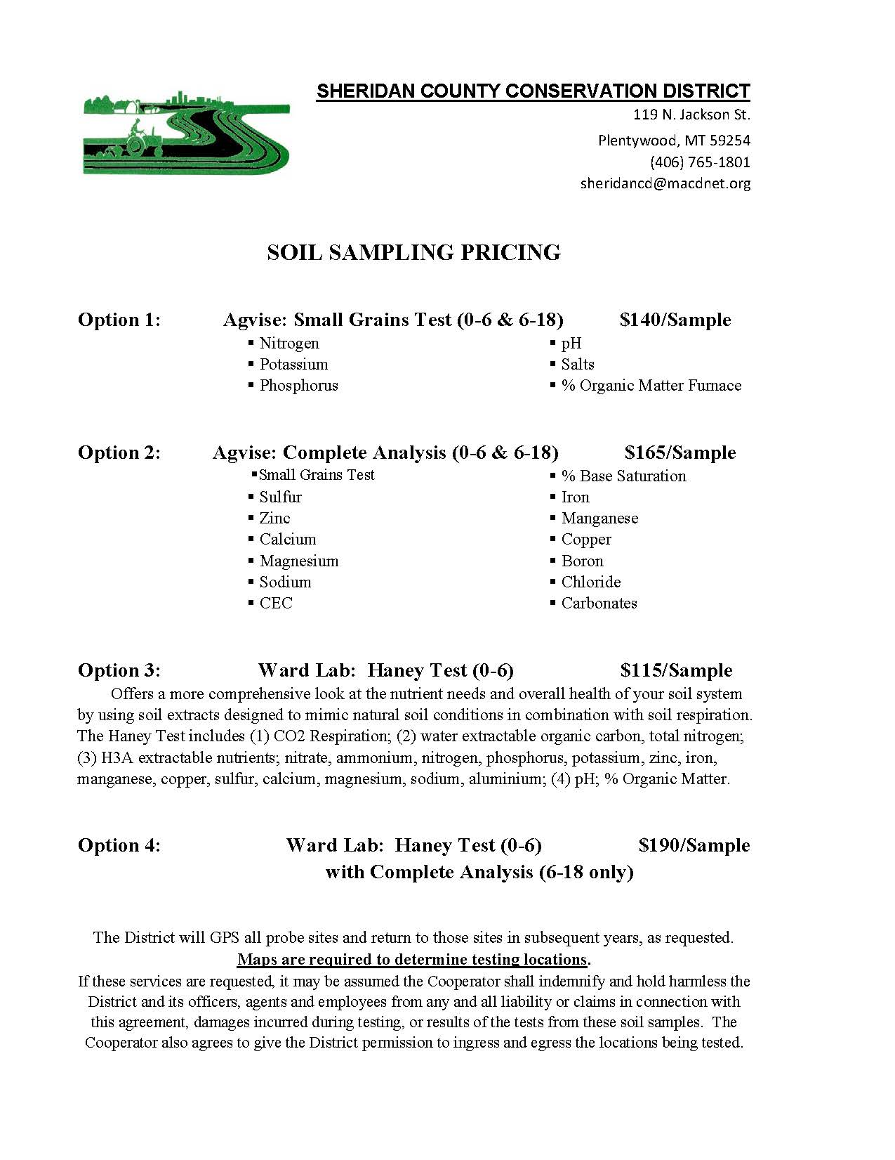 Soil Test Pricing Sheet